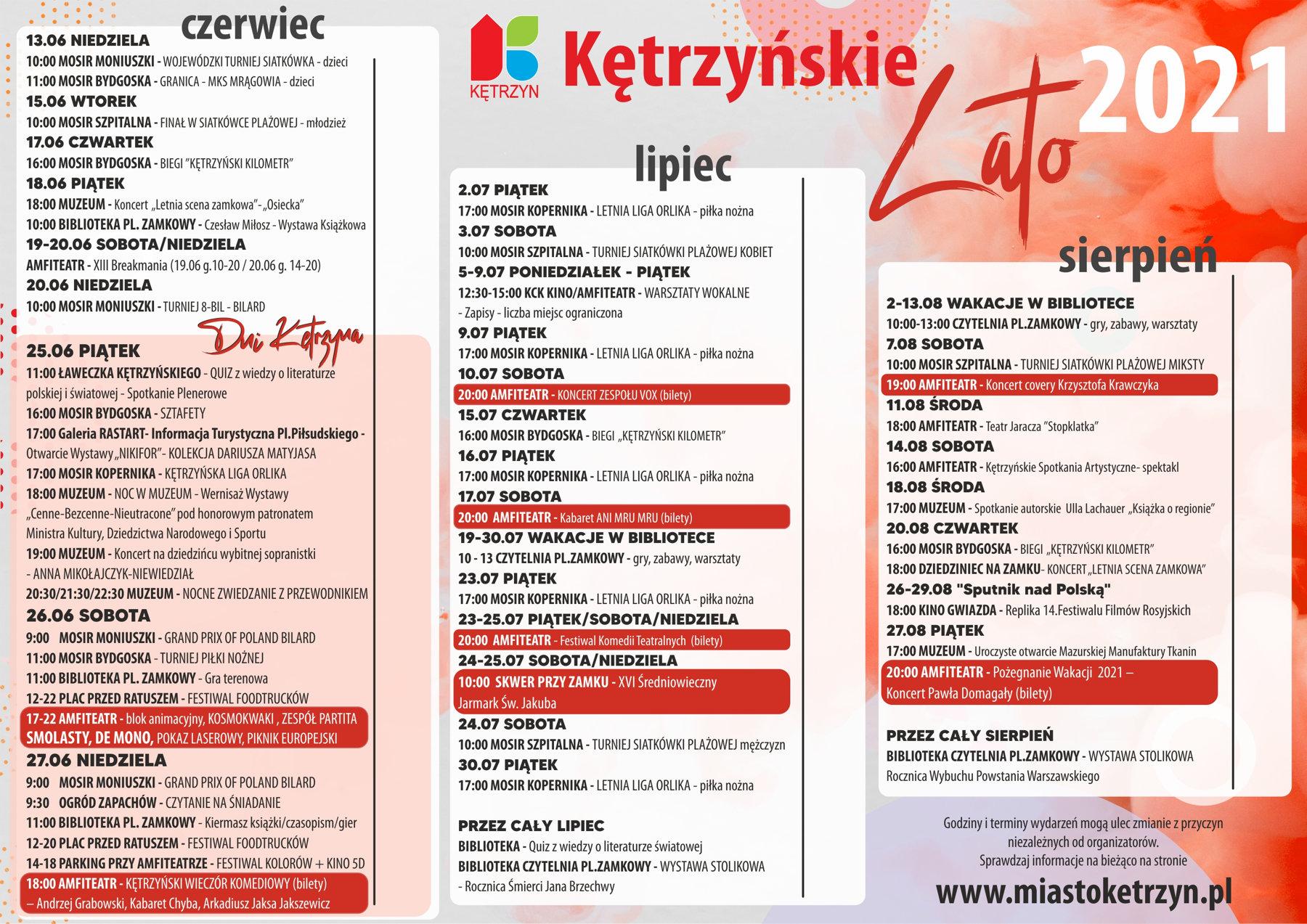 Kętrzyńskie Lato 2021 - kalendarz imprez
